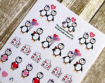 Waddles & Snowflake in love stickers, Love character sticker, character sticker, cute penguin sticker, hand drawn sticker