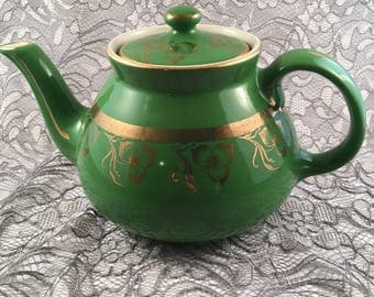 Green Gold Hall vintage teapot