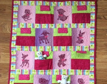 baby/toddler quilt, toys&quilt, purple baby quilt