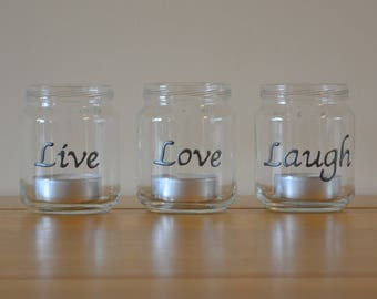 Set of 3 handpainted glass tea light holders with the words 'live', 'love' & 'laugh'