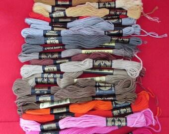 Vintage Lot DMC Cross Stitch Floss, 600 Series Colors, 22 Skeins