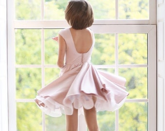 Powder dress, Backless Dress Party Girl Dress, Flower girl Dress, Birthday Girl Dress, Christmas dress, New year dress, dress for girl