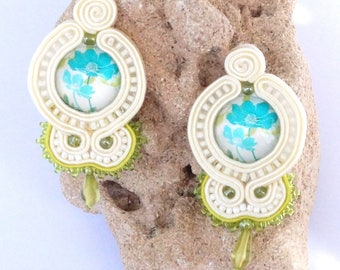Soutache earrings ear jewellery boho jewelry beads chandelier earrings ear studs beads handmade jewelry
