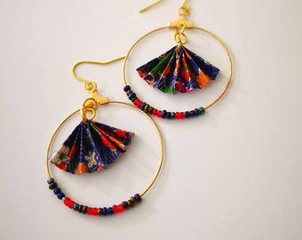 Origami Fan  Earrings- Origami Jewelry-Origami Earrings-Paper Jewelry-washi Paper -Dange Earrings-Christmas