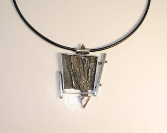Big Silver Pendant From Steel Hand Made By Artist Geometrical Pendant