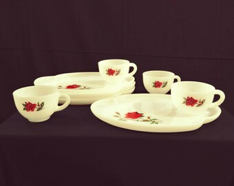 Vintage Rosecrest Federal Glass Milk Glass Snack Set, Four  Place Settings.