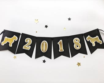 New Year Eve Decoration Happy New Year 2018 Sign Banner Dog Symbol 2018 Black Gold New Year Holiday Party Banner Photo Prop