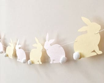 Blush Yellow Rabbits Garland Rabbit Easter Garland Bunny Baby Shower 1st Birthday Garland Bunny Easter Decorations Spring Easter Home Decor