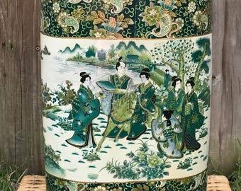 Green Chinoiserie Ceramic Umbrella Stand