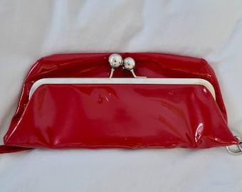 Red Vinyl Clutch / Vintage Handbag / 90s Clutch / 1990s Handbag