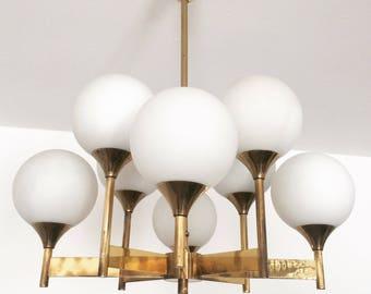 Mid century modern brass chandelier | Emperor lamps | opline glass | 1960s |