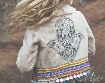 Vintage Embellished Faux Fur Jacket