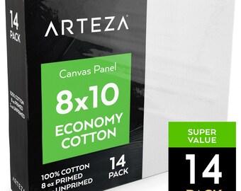 Arteza 8x10 Canvas Panel, Economy-Cotton (Pack of 14)