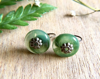 Cute Circled Jade Colored Earrings