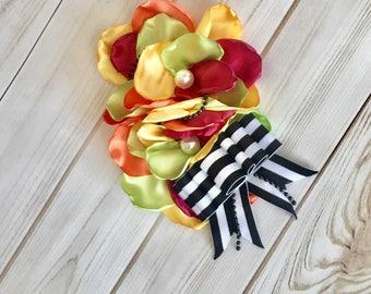 Colorful girl headband- baby girl flower headband- women's flower pin
