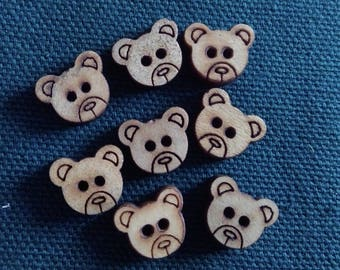 8 small bears pattern wooden buttons