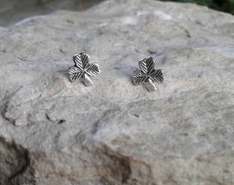 Shamrock Earrings, Solid Sterling Silver Shamrock Stud Earrings, St. Patrick's Day Earrings, Irish Jewelry