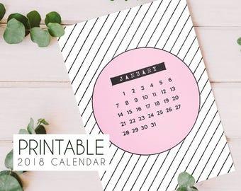 2018 printable minimalist geometric calendar