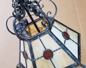 Vintage Arts & Crafts, Mission Stained Glass Chandelier, SHIPPING INCLUDED