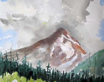 Watercolor art painting of Mount Hood, in the Oregon Cascades, print from a handmade original