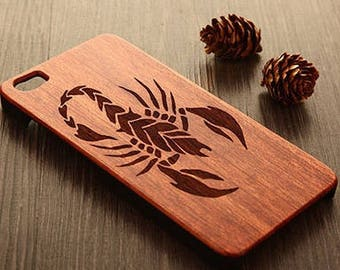 Iphone 5/6 7 case wood - wooden iphone 7 case walnut, cherry or bamboo wood - Scorpion