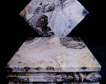 Monochrome Ceramic epoxy resin coasters