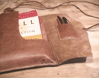 Traditionally Tanned Kangaroo Deep Pocket Book Wrap with Pen Holder