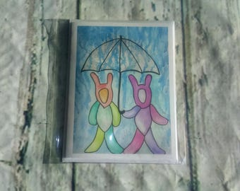 Greeting card, painting watercolor, crazy Bunny, umbrella print