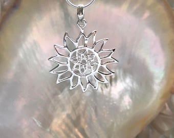 SOLID STERLING SILVER - Sun Flower Pendant