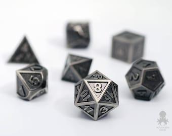 Metal D&D Dice Set - DnD Metal Dice - Dungeon Master High Quality Metal Gaming Dice Polyhedral Dice Set - RPG Dice Set - Gun Metal Dice Set