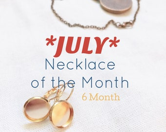 JULY Necklace of the Month . Embroidery Necklace . Custom Design . Pendant necklace . Jewlery Subscription . Gift Under 30 . 6 month