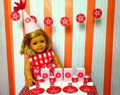 American Girl Doll Party Supplies: Plates, Cups, Straws, Napkins, Banner, Treat Bags Birthday for 18 Inch Dolls, Miniature Party Set