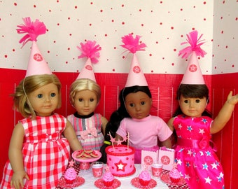 "American Hats 18"" Girl Doll Birthday Party Supplies 18 Inch Doll Hats, Party Supplies Doll Accessories, Mini doll Hats Red Pink Star (set 4)"