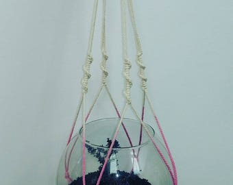 macrame hanger handmade white and pink