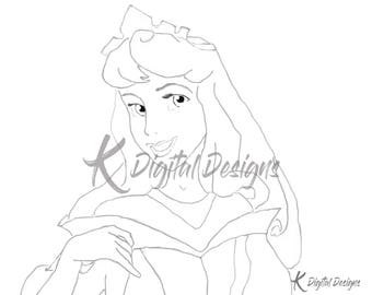 Disney's Princess Aurora Coloring Page-INSTANT DIGITAL DOWNLOAD