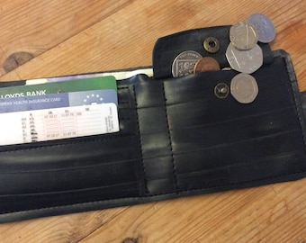 Wallet, faux leather wallet, rubber wallet, gift for men, Valentines Day, birthday, vegan, made from recycled rubber inner tube