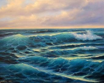 Ocean Wave Painting Original Seascape Oil Painting on Canvas Original Ocean Oil Painting Large Ocean Painting Blue Ocean Waves Paintings oil