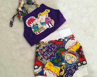 Rugrats shorties set, set, baby set boutique, nb, 3,6,9,12,24 months, 2,3t