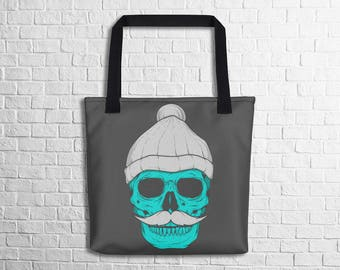 Skull With A Beanie Tote Bag Skull Art Tote Stylish Skull Art Design Tote School Tote Work Tote Halloween Tote Witty Novelty