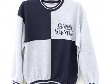 Vintage 90's GIANNI VALENTINO Crew Neck ,Sweatshirt,ITALY Branded