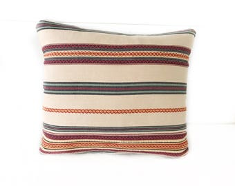 Multicolored Striped Square Pillow with Insert