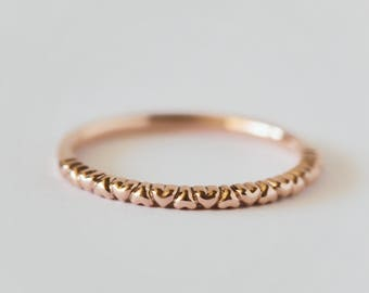 14k rose gold heart pattern ring // rose gold ring // 14k gold ring // jewelry // stacking ring // gift for her // heart ring // dainty ring