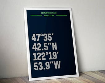 CenturyLink Field Coordinate Print for Man Cave - Seattle Seahawks - Fan Art Poster Typographic Print