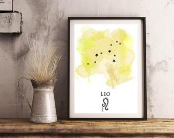 Leo Zodiac print | Horoscope art print | Star sign art