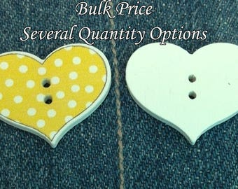 Mixed colored wooden Valentine polka dots patterned heart tags Baby cute craft buttons 2 hole wood heart shaped bulk sewing buttons BU0023co