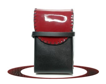Case for Pack of cigarettes and red - black leather woman cigarette case