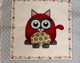 Weaving way jacquard tapestry Panel Cute Kitten