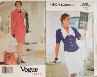 Albert Nipon Vogue American Designer Pattern 2664 Fitted Lined Top / Jacket & Straight Skirt (18-20-22) Uncut 1991