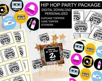 Hip Hop Party Package, Digital Hip Hop Themed Party Decor, Printable Party Decor, Two Legit to Quit, *Digital Files*