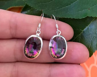 sterling silver earrings, gemstone earrings, silver earrings, labradorite earrings, sterling silver jewellery, vintage jewellery,